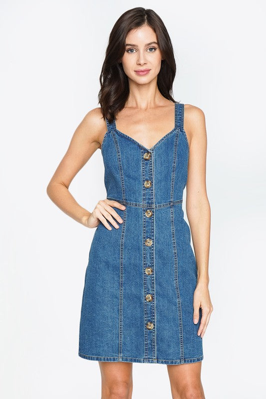 No Button's About It Denim Dress