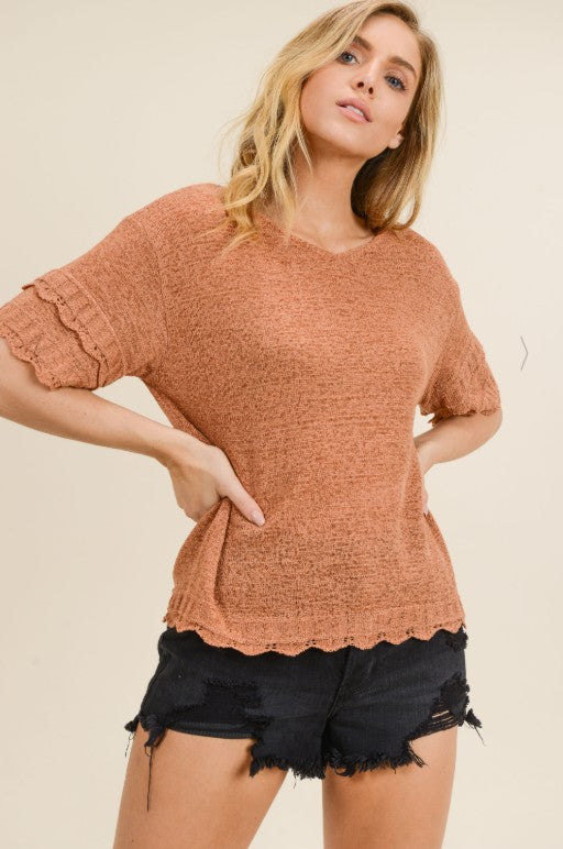 Let's Spice It Up Knit Short Sleeve Blouse