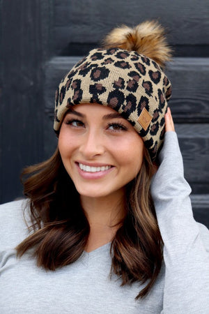 Leopard Knit Hat with Fur Pom