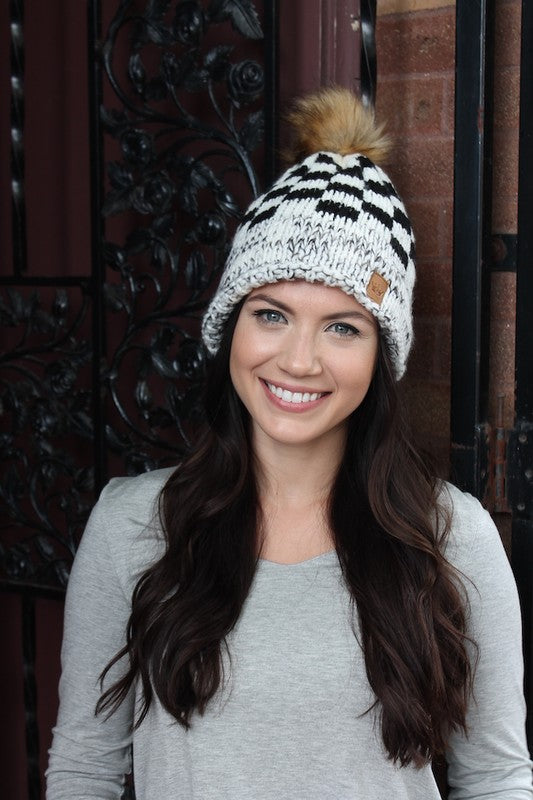 Black & White Buffalo Plaid Fleece Lined Hat