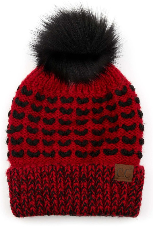 CC Patterned Beanie with Fur Pom & Fleece Lining