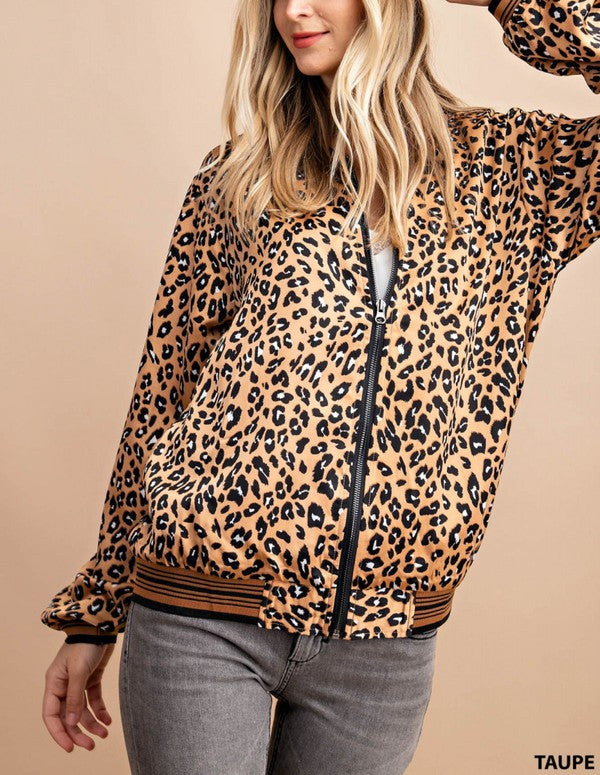 You're The Bomb Leopard Bomber in Taupe