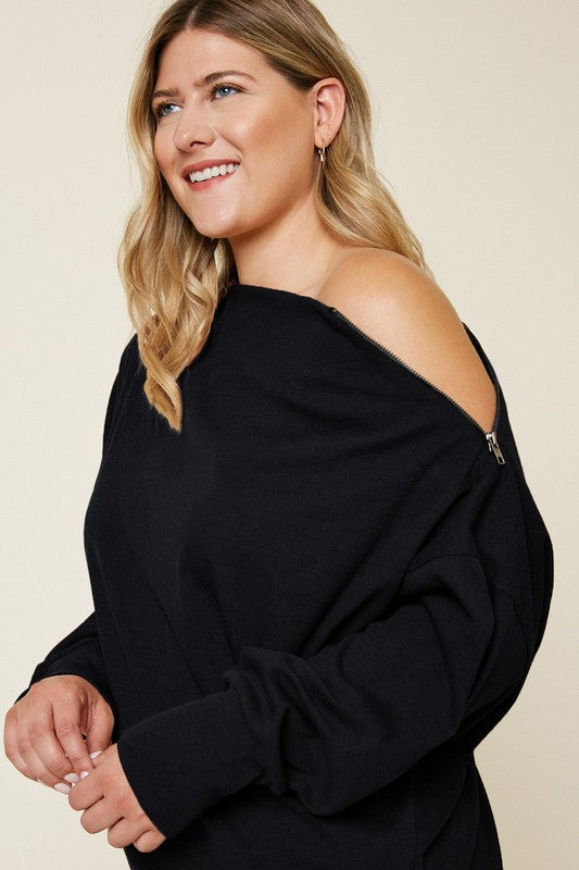 Curvy Brush It Off Shoulder Zip Sweater