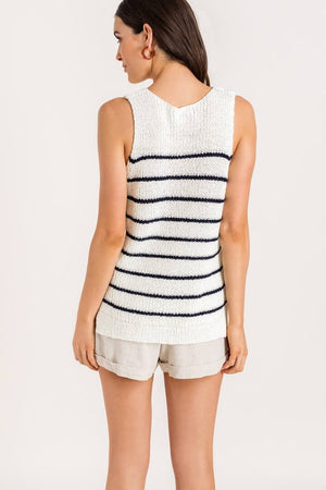 Here I Go Navy Striped Sweater Top