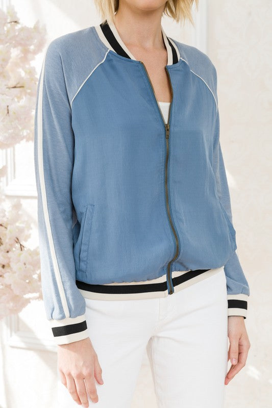 Chambray All Day Bomber Jacket