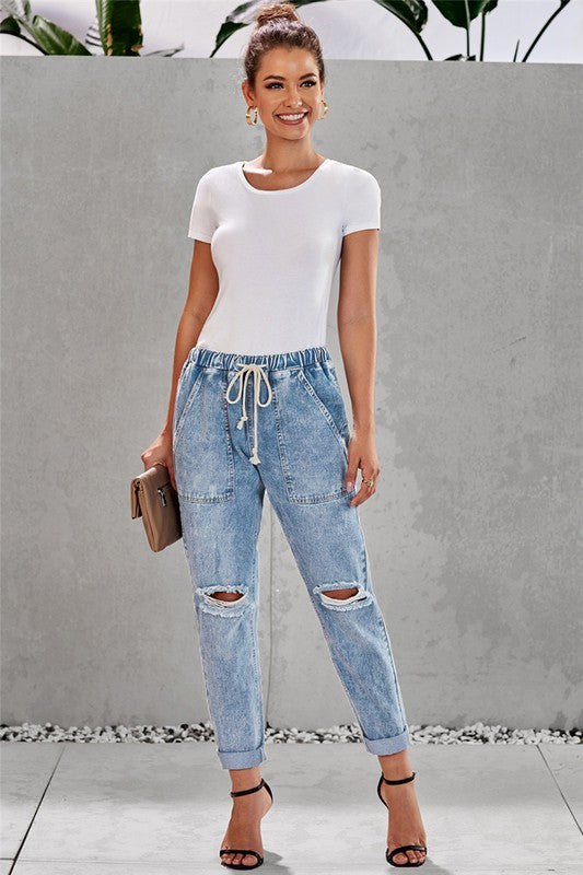City Girl Distressed Denim Jogger