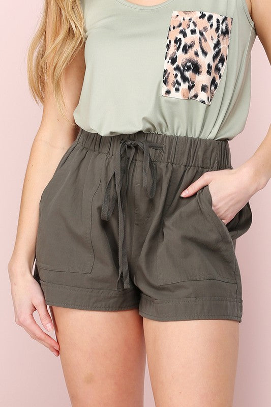 Let's Go Cotton Short in Olive