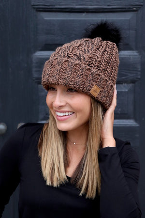 Brown & Black Cable Knit Fleece Lined Hat