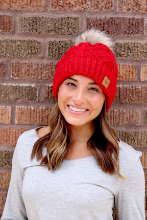 Red Cable Knit Fleece Lined Hat