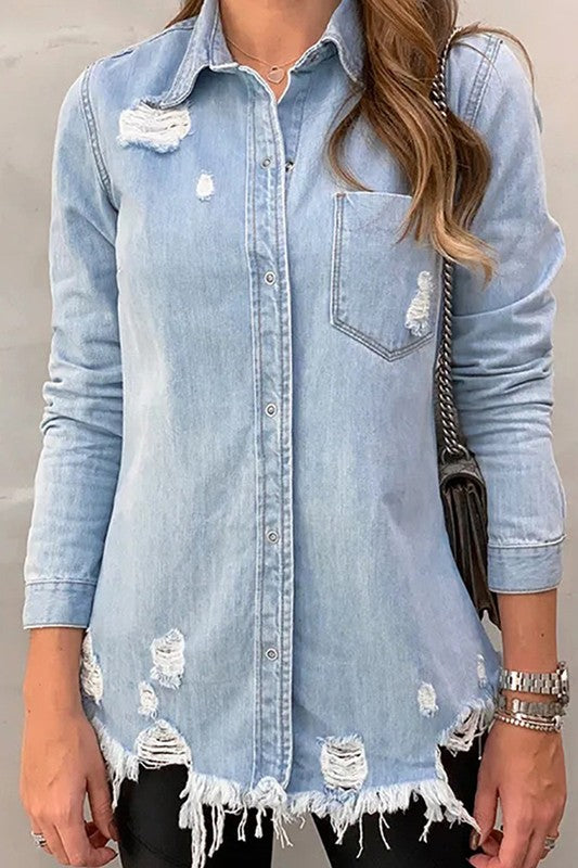 Denim For Days Distressed Shirt in Light Wash
