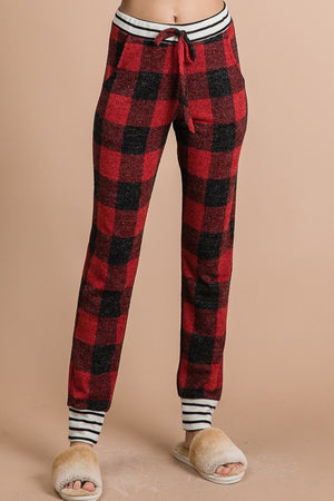 Feeling Festive Red Buffalo Plaid Lounge Set