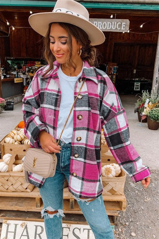 Plaid About You Shacket in Pink & Black