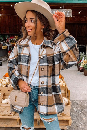 Plaid About You Shacket in Tan