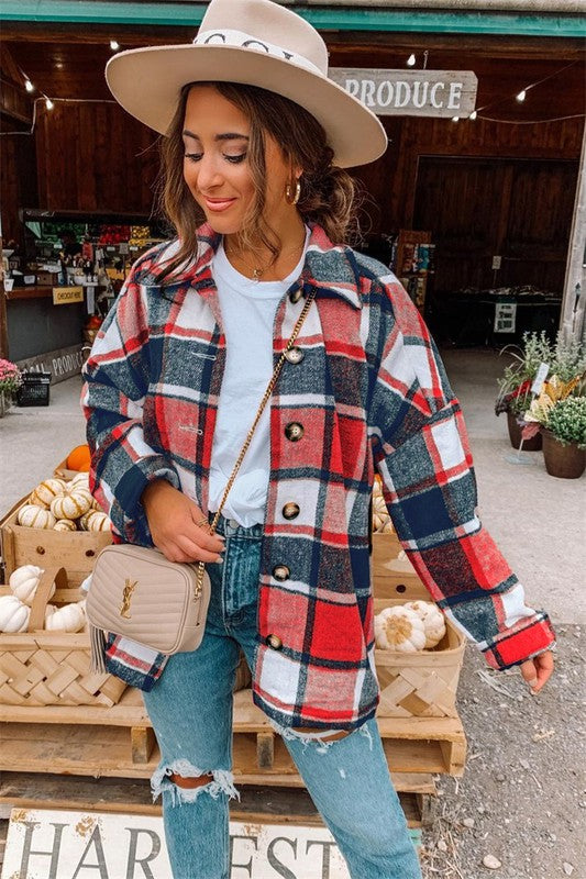 Plaid About You Shacket in Red
