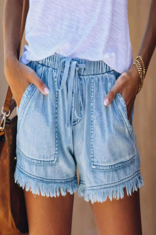 Lola Denim Drawstring Shorts in Light Wash
