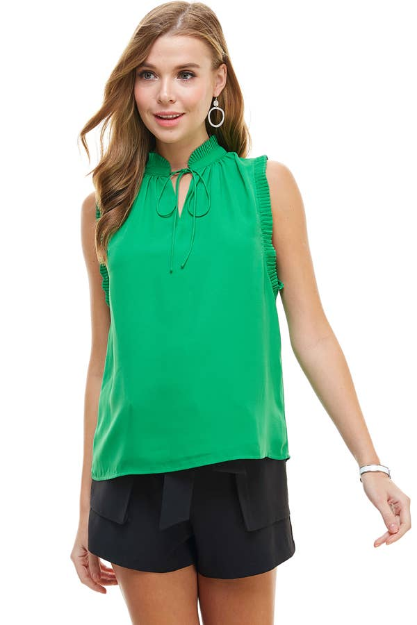 Kelly Pleated Detail Blouse in Green
