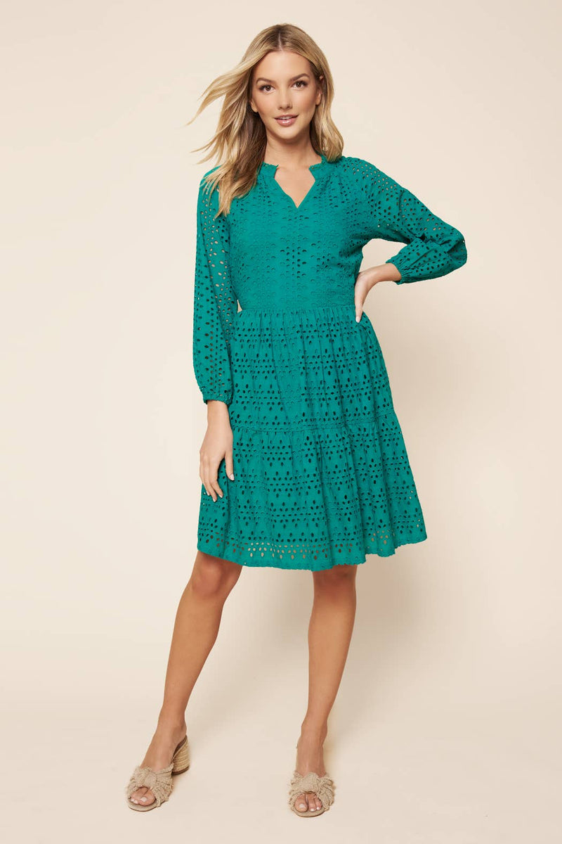 Sway Me Eyelet Tiered Dress