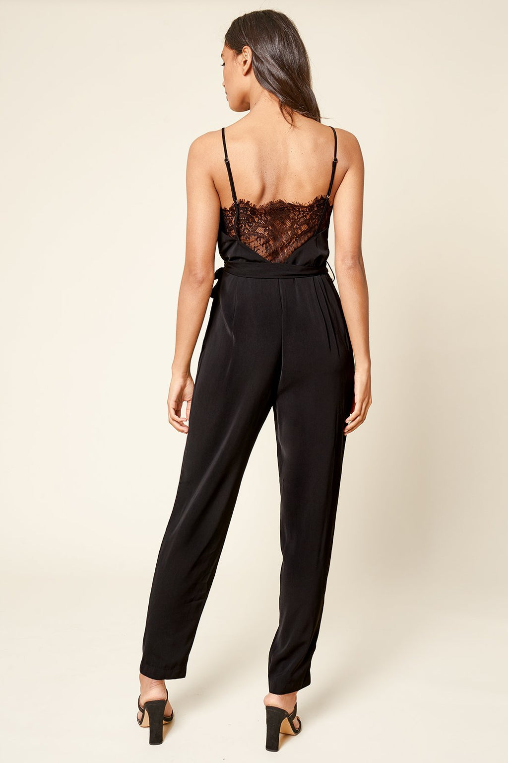 One I Adore Belted Back Lace Jumpsuit