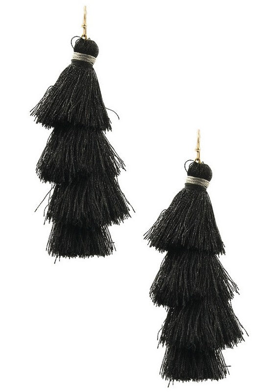 Black Tassel Statement Earring