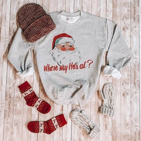 Where's My Ho's At Santa Vintage Sweatshirt