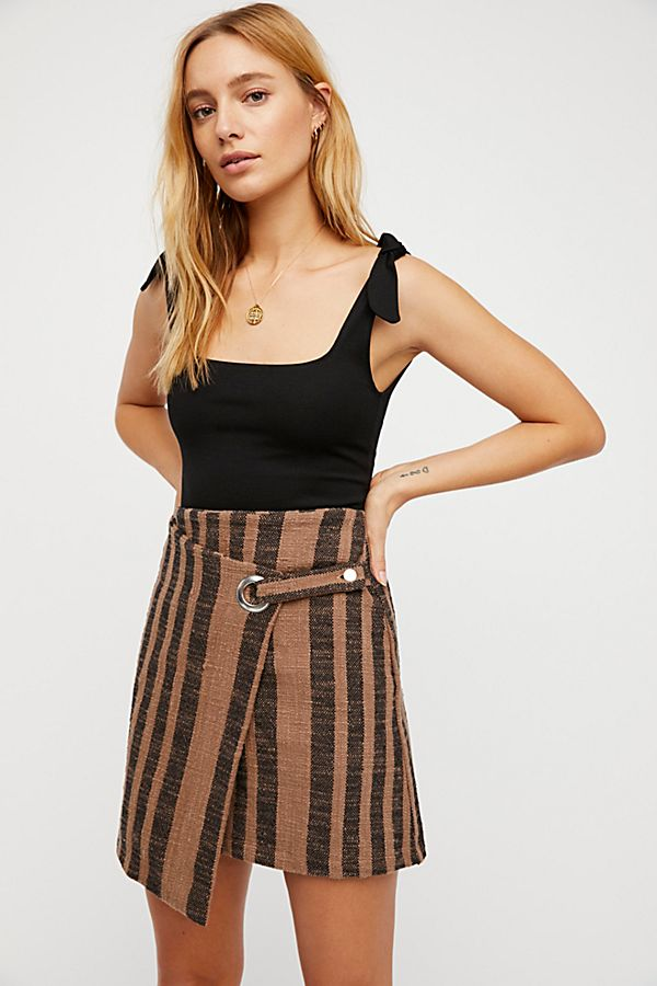 Free People It's a Wrap Skirt in Black/Tan