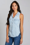 The Ellison Top in lightwash denim