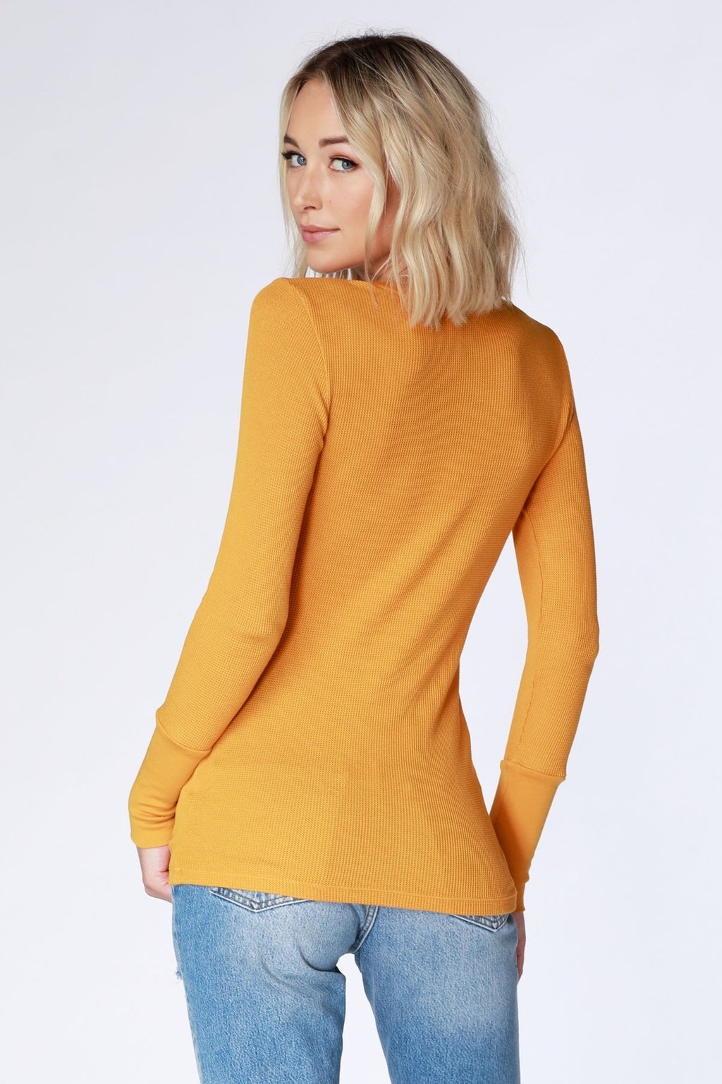 Bobi V-Neck Thermal in Mustard