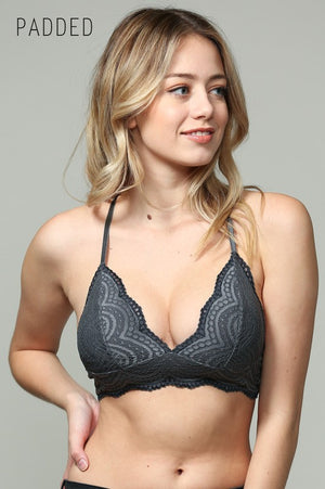 Charcoal Lace Scalloped Bralette with padding