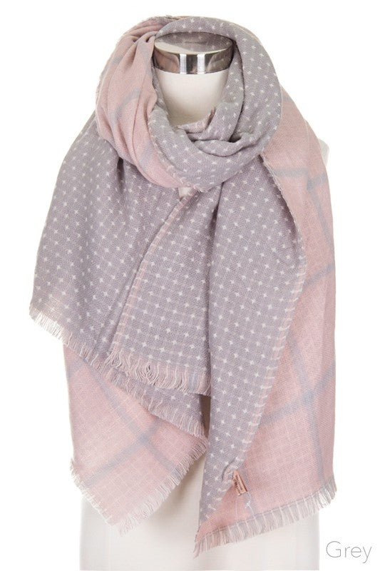 Polka Dot & Check Plaid Pattern Blanket Scarf in Grey