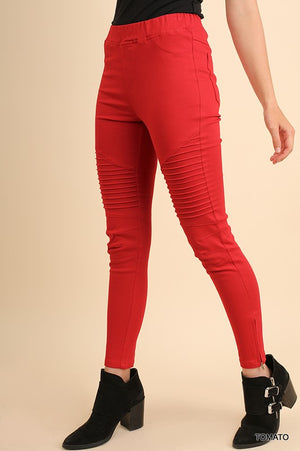 Red Moto Leggings