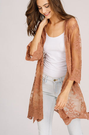 Embroidery Lace Open Cardigan