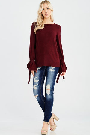 Ribbon-Tie Sleeve Sweater