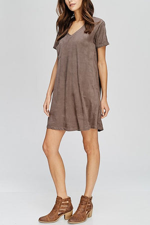 Suede Pocket Dress
