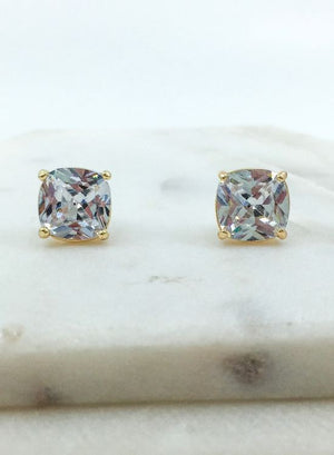 Cubic Zirconia Cushion Cut Post Earrings