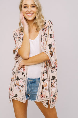 Floral Printed Kimono with Lace Detail