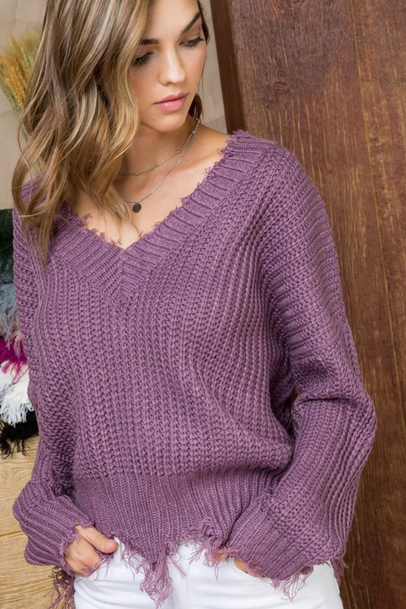 Love & Lavender Fray Sweater