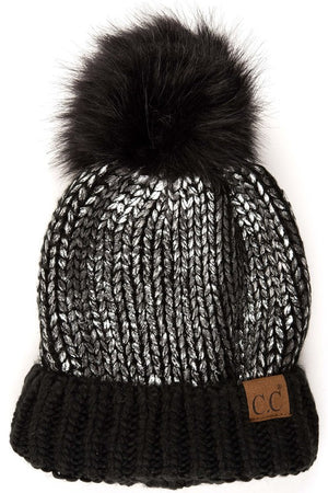 CC Foil Beanie with Fur Pom
