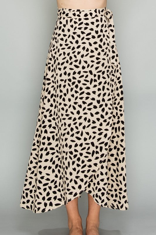 Connect The Dots Leopard Wrap Skirt