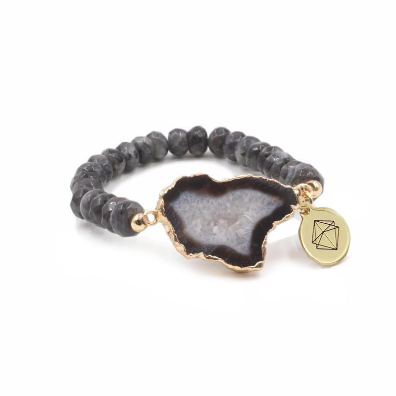 Mint & June Druzy Gold Agate Bracelet