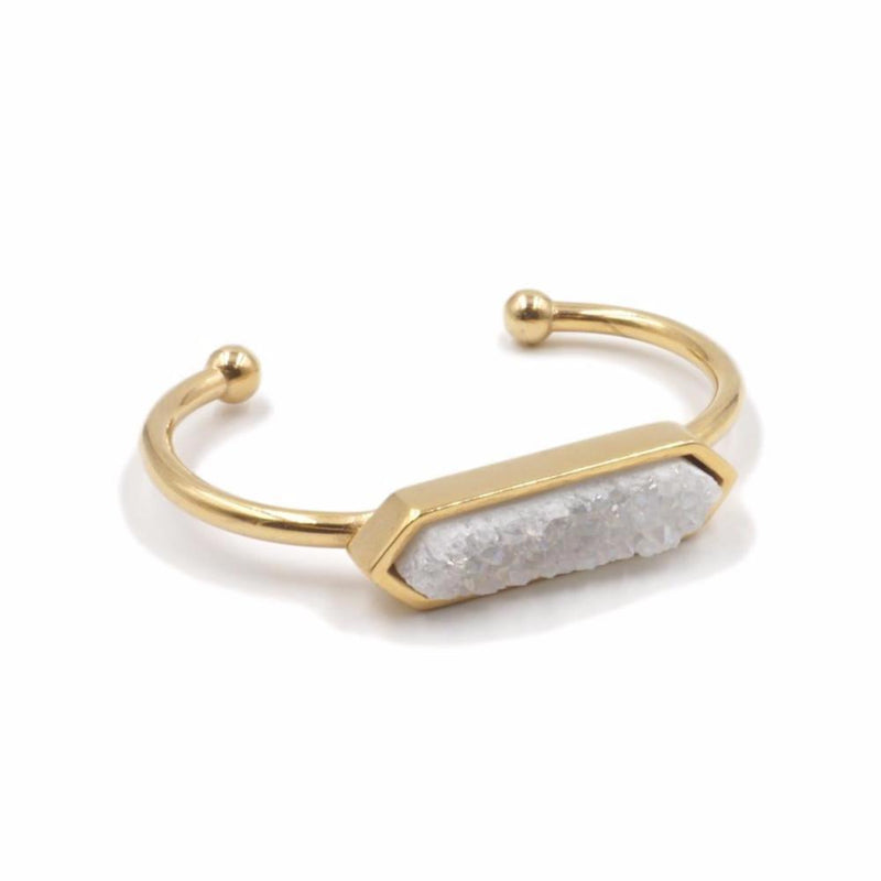 Mint & June Raw Quartz Druzy Bangle in White Natural Stone