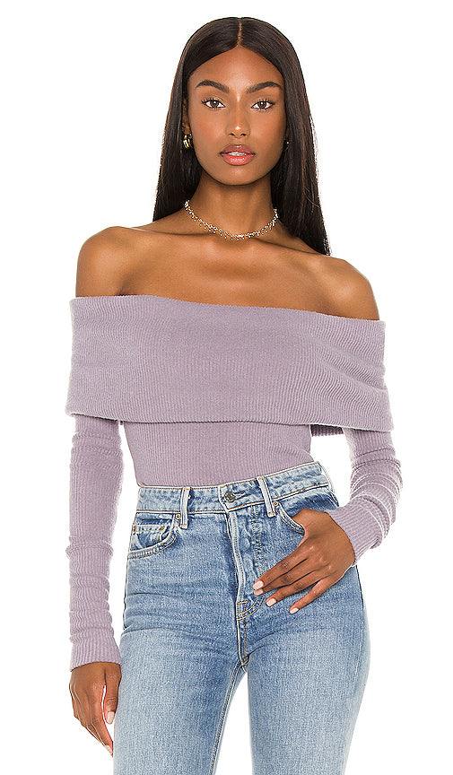 Free People Snow Bunny Sweater in Purple Smoke