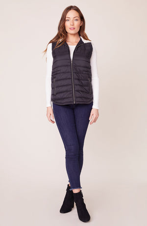 JACK By BB DAKOTA TAKE ON ME QUILTED VEST WITH FAUX FUR HOOD