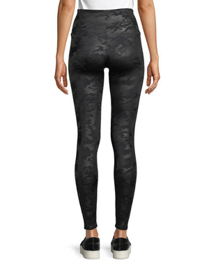 Spanx Faux Leather Black Matte Camo Leggings
