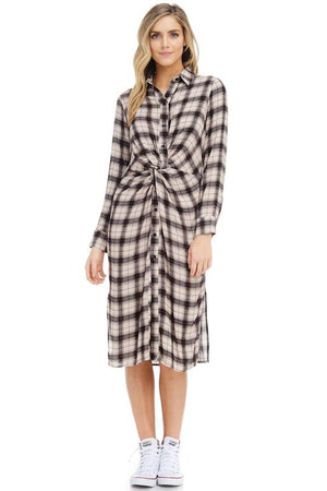 Work Mode Plaid Shirt Dress