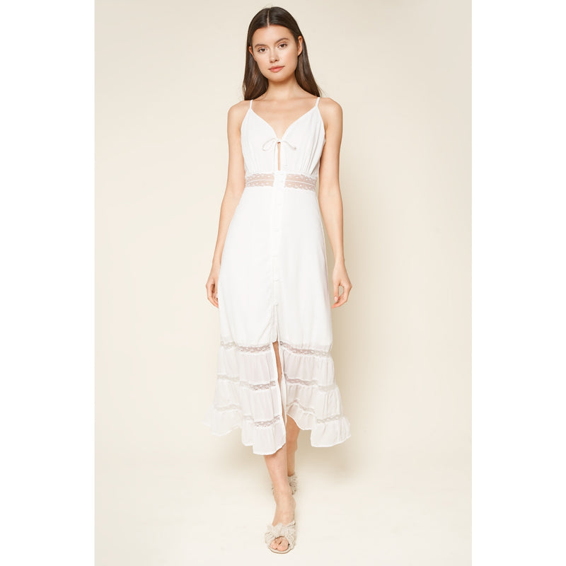 When In Rome Lace Trim Maxi Dress