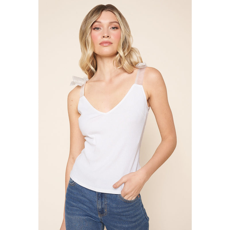 Zora Ribbed Shoulder Tie Strap Top