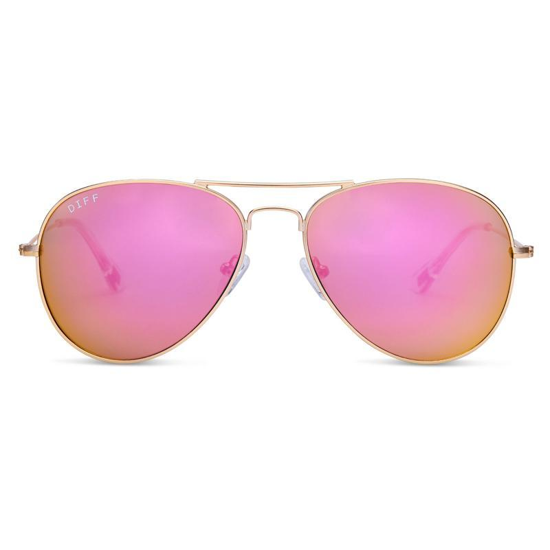 DIFF Cruz in matte gold + pink mirror lens