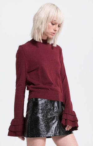 Katie Ruffle Bell Sleeve Knit Top