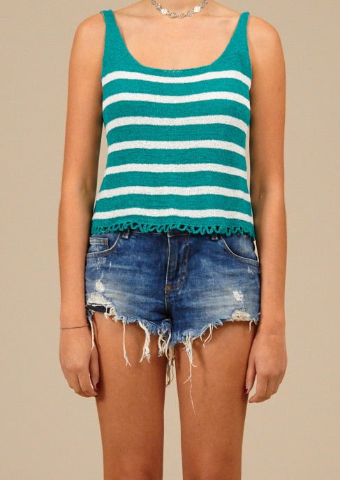 Spring Dreaming' Striped Teal Tank