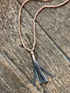 Madison+Barrett Gunmetal Metallic Tassel Necklace with Rosewood Beads